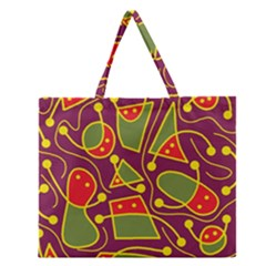 Playful Decorative Abstract Art Zipper Large Tote Bag by Valentinaart