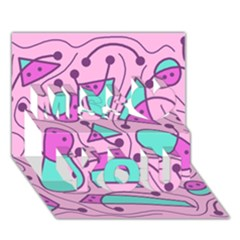 Playful Abstract Art   Pink Miss You 3d Greeting Card (7x5)