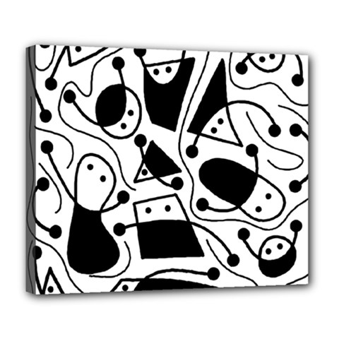 Playful Abstract Art   White And Black Deluxe Canvas 24  X 20   by Valentinaart