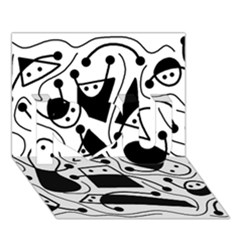 Playful Abstract Art   White And Black I Love You 3d Greeting Card (7x5)