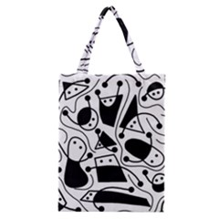 Playful Abstract Art   White And Black Classic Tote Bag by Valentinaart