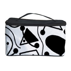 Playful Abstract Art   White And Black Cosmetic Storage Case by Valentinaart