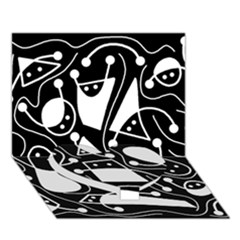 Playful Abstract Art   Black And White Heart Bottom 3d Greeting Card (7x5) by Valentinaart