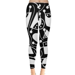 Playful Abstract Art   Black And White Leggings  by Valentinaart