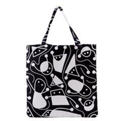 Playful Abstract Art   Black And White Grocery Tote Bag by Valentinaart