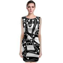 Playful Abstract Art   Black And White Classic Sleeveless Midi Dress