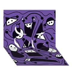 Playful Abstract Art   Purple Clover 3d Greeting Card (7x5) by Valentinaart