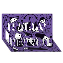 Playful Abstract Art   Purple Happy New Year 3d Greeting Card (8x4)