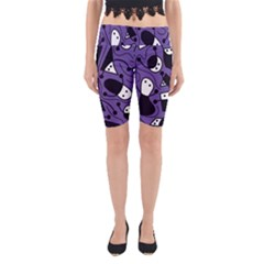 Playful Abstract Art   Purple Yoga Cropped Leggings by Valentinaart