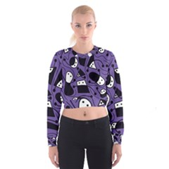 Playful Abstract Art   Purple Women s Cropped Sweatshirt by Valentinaart