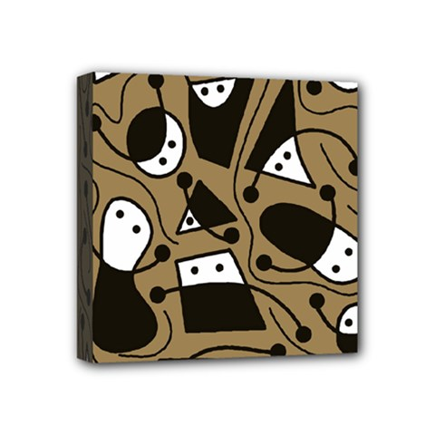 Playful Abstract Art   Brown Mini Canvas 4  X 4  by Valentinaart