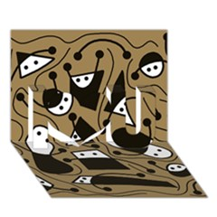Playful Abstract Art   Brown I Love You 3d Greeting Card (7x5) by Valentinaart