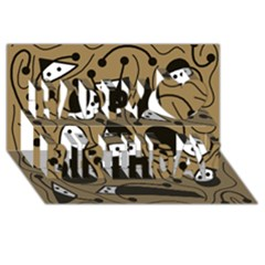 Playful Abstract Art   Brown Happy Birthday 3d Greeting Card (8x4)