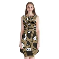 Playful Abstract Art   Brown Sleeveless Chiffon Dress