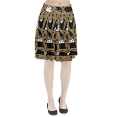Playful abstract art - Brown Pleated Skirt by Valentinaart