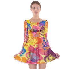 Pop Art Roses Long Sleeve Skater Dress