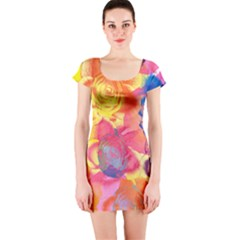 Pop Art Roses Short Sleeve Bodycon Dress