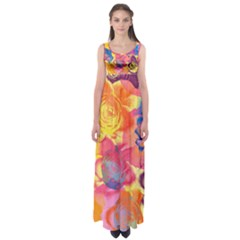 Pop Art Roses Empire Waist Maxi Dress