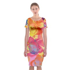 Pop Art Roses Classic Short Sleeve Midi Dress