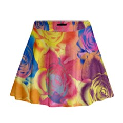 Pop Art Roses Mini Flare Skirt
