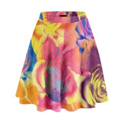 Pop Art Roses High Waist Skirt