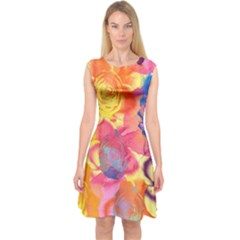 Pop Art Roses Capsleeve Midi Dress