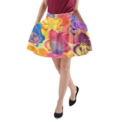 Pop Art Roses A Line Pocket Skirt