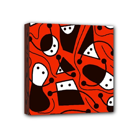 Playful Abstract Art   Red Mini Canvas 4  X 4  by Valentinaart