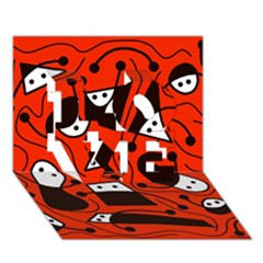 Playful Abstract Art   Red Love 3d Greeting Card (7x5)
