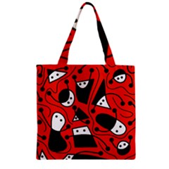 Playful Abstract Art   Red Zipper Grocery Tote Bag