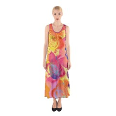 Pop Art Roses Sleeveless Maxi Dress by DanaeStudio
