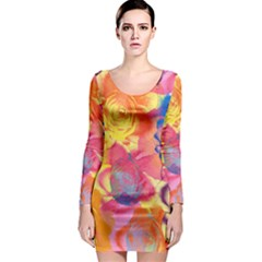 Pop Art Roses Long Sleeve Bodycon Dress
