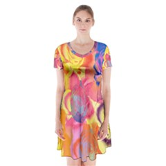 Pop Art Roses Short Sleeve V Neck Flare Dress