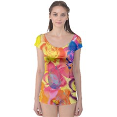 Pop Art Roses Boyleg Leotard