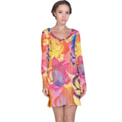 Pop Art Roses Long Sleeve Nightdress