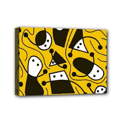 Playful Abstract Art   Yellow Mini Canvas 7  X 5  by Valentinaart
