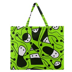 Playful Abstract Art   Green Zipper Large Tote Bag by Valentinaart
