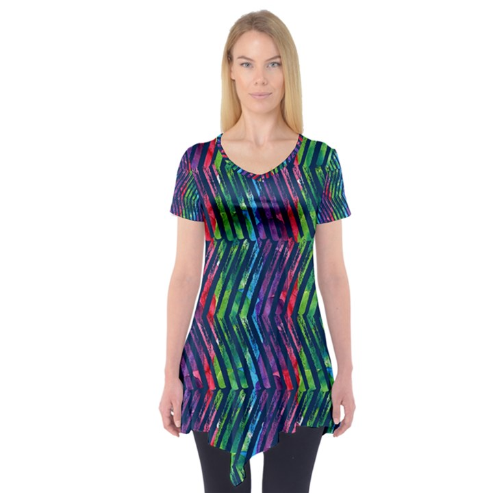 Colorful Lines Short Sleeve Tunic