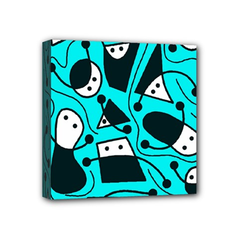 Playful Abstract Art   Cyan Mini Canvas 4  X 4  by Valentinaart