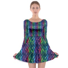 Colorful Lines Long Sleeve Skater Dress by DanaeStudio