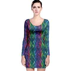 Colorful Lines Long Sleeve Velvet Bodycon Dress by DanaeStudio