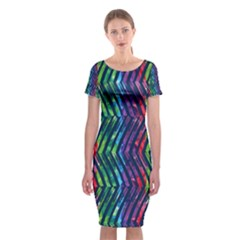 Colorful Lines Classic Short Sleeve Midi Dress by DanaeStudio