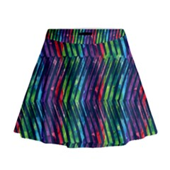 Colorful Lines Mini Flare Skirt by DanaeStudio