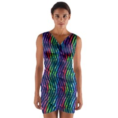 Colorful Lines Wrap Front Bodycon Dress by DanaeStudio