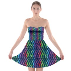 Colorful Lines Strapless Bra Top Dress