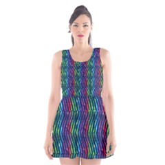 Colorful Lines Scoop Neck Skater Dress