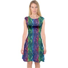 Colorful Lines Capsleeve Midi Dress by DanaeStudio