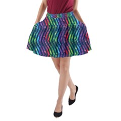Colorful Lines A Line Pocket Skirt