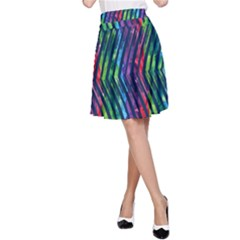 Colorful Lines A Line Skirt