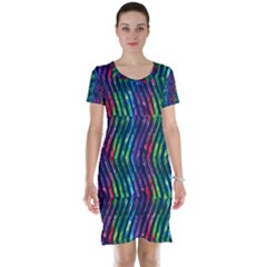 Colorful Lines Short Sleeve Nightdress